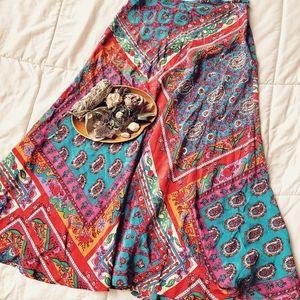 Silk Midi Boho Skirt